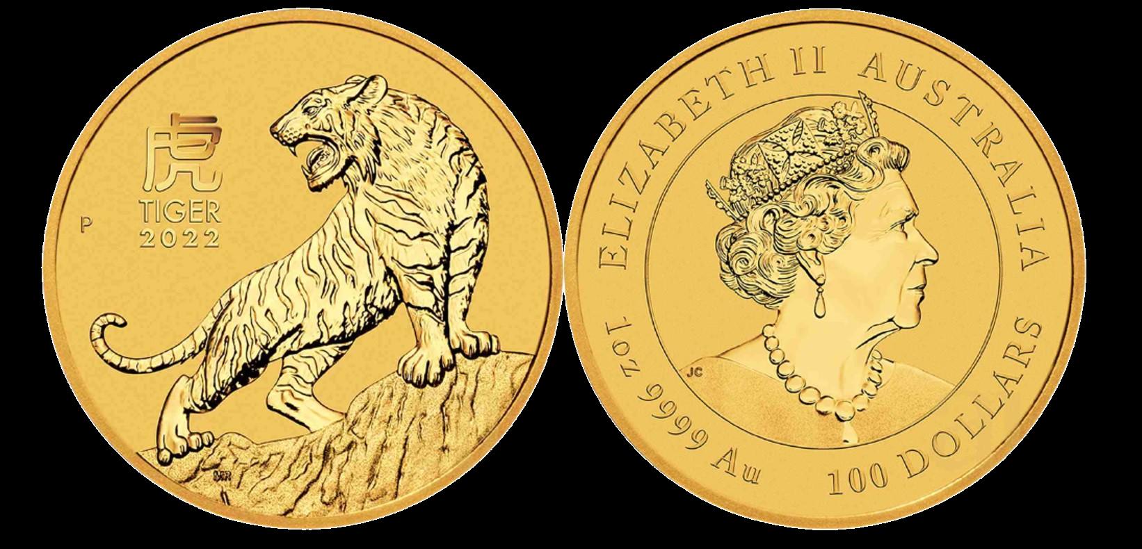 Złota moneta – złoty Asutralijski Lunar 2022 – Rok Tygrysa – 1 uncja złota